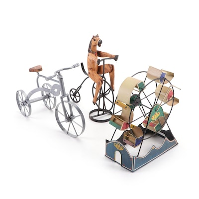 Painted Metal Ferris Wheel and Reproduction Bicycle Toys