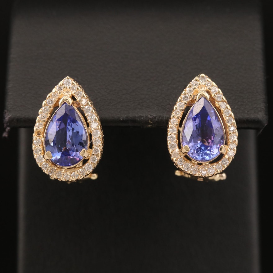 14K Tanzanite and Diamond Drop Earrings