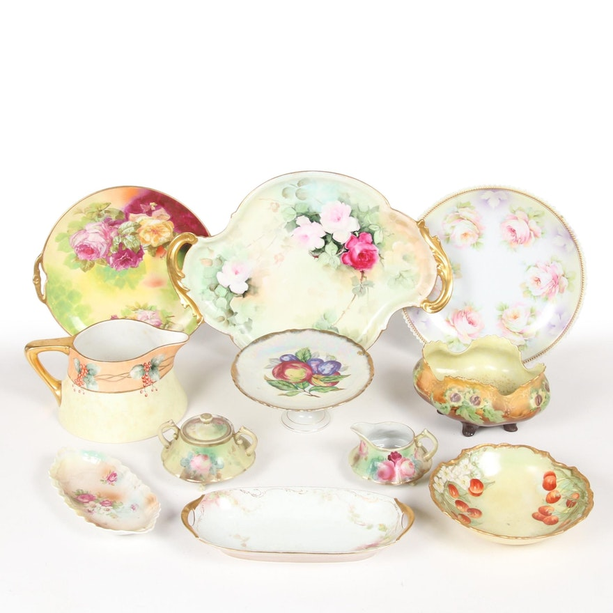Gilt Accented Porcelain Tableware, Mid-20th Century
