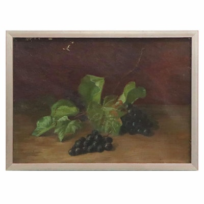 Still Life Oil Painting with Grapes, Early 20th Century