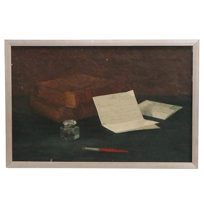 Still Life Oil Painting with Books and Inkwell, Early 20th Century