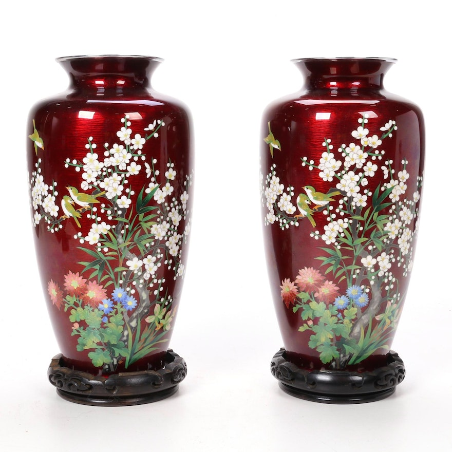 Pair of Chinoiserie Enameled Vases with Wooden Stands