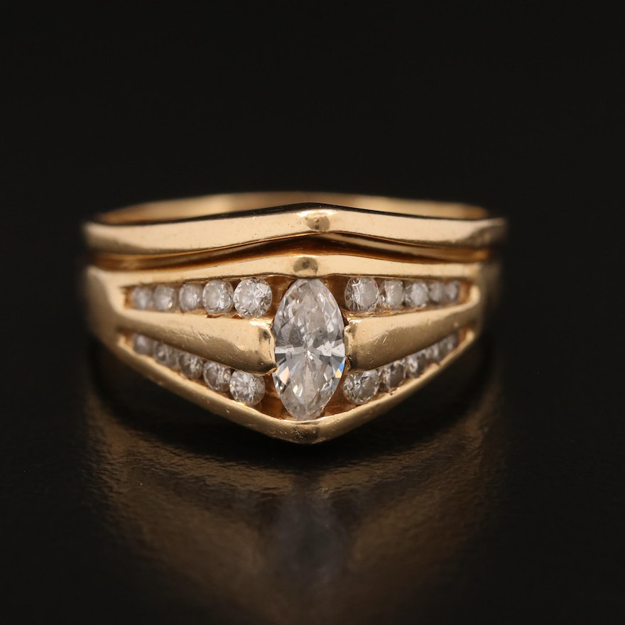 14K Diamond Ring with Channel Set Shoulders