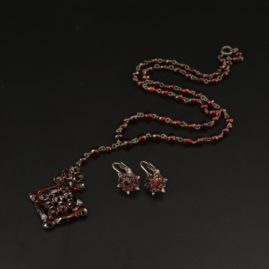 Vintage Bohemian Czech Glass Necklace and Earrings