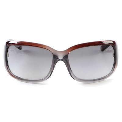 Versace Brown and Gray Ombré Rectangle Sunglasses