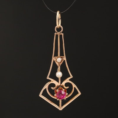 Art Nouveau 10K Ruby and Seed Pearl Lavalier Pendant with 14K Bail