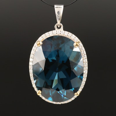 14K 21.35 CT London Blue Topaz and Diamond Halo Pendant