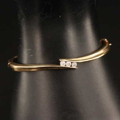 10K Diamond Hinged Bangle