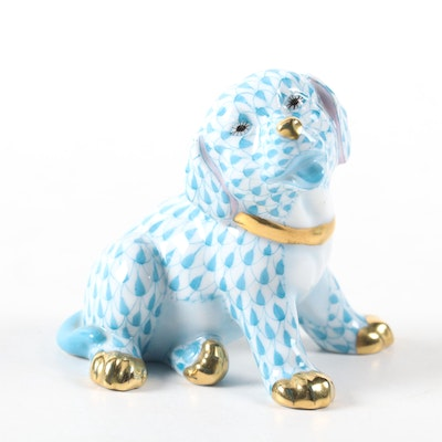 "Herend Blue Fishnet with Gold ""Puppy"" Porcelain Figurine"