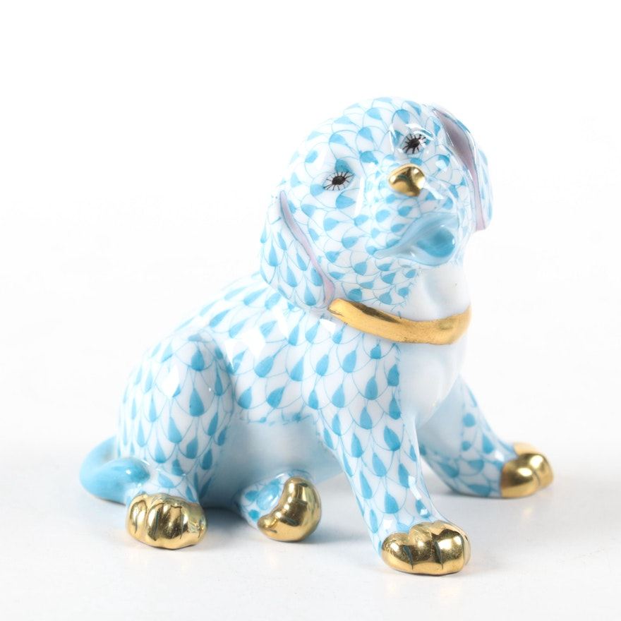 """Herend Blue Fishnet with Gold """"Puppy"""" Porcelain Figurine"""