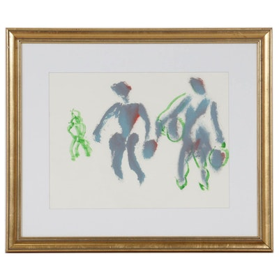 Paul Chidlaw Acrylic Painting of Abstract Figures, Mid to Late 20th Century