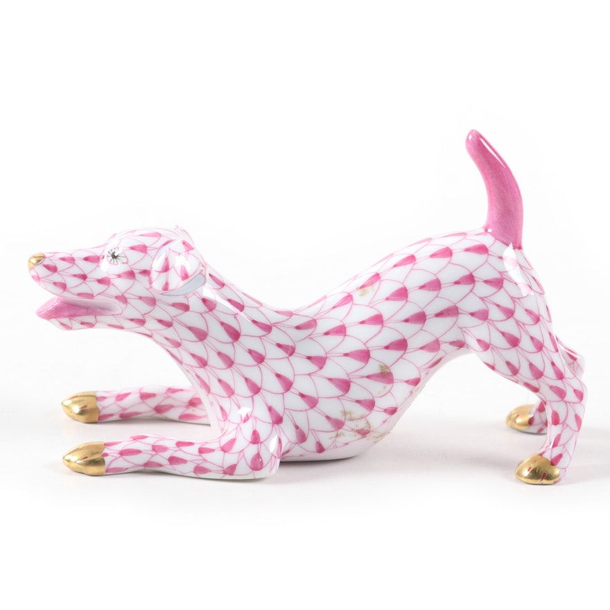 """Herend Raspberry Fishnet with Gold """"Jack Russell Terrier"""" Porcelain Figurine"""