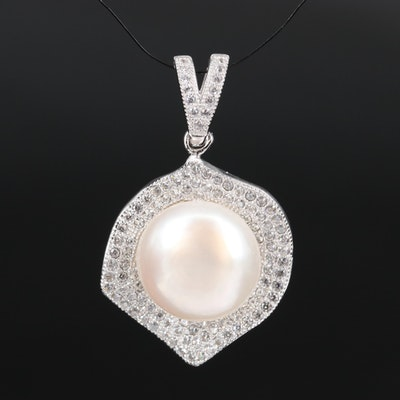 Sterling Button Pearl and Cubic Zirconia Pendant