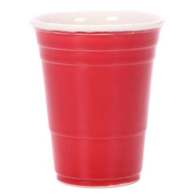 Three Rivers Clay Works Porcelain Red Solo Cup Sculpture, 21st Century