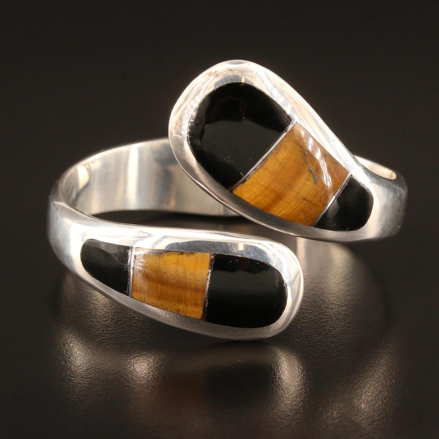 Mexican Sterling Silver Tiger's Eye and Onyx Inlay Hinged Bypass Bangle