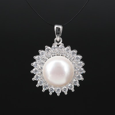 Sterling Button Pearl and Cubic Circular Pendant