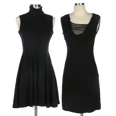 Susana Monaco and Rozae Nichols Black Stretch Knit Sleeveless Dresses