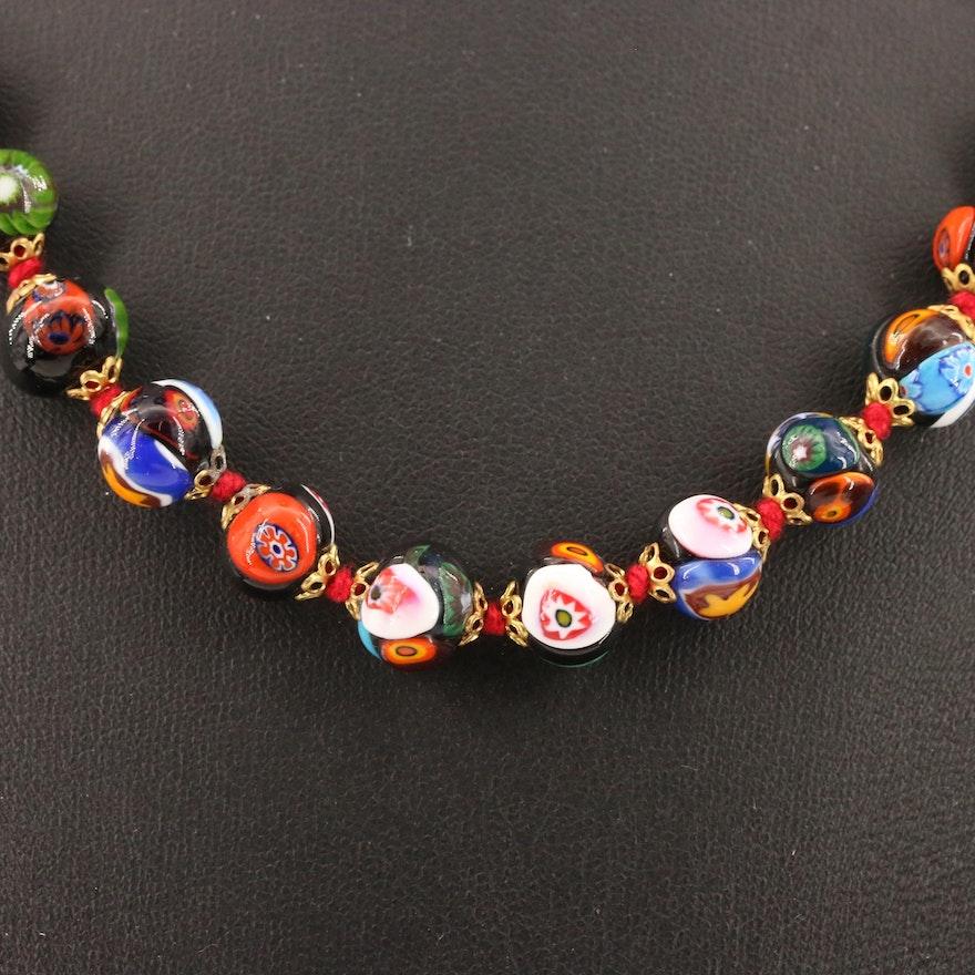 Millefiori Glass Bead Necklace