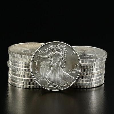 Roll of Twenty 2013 $1 American Silver Eagle Bullion Coins