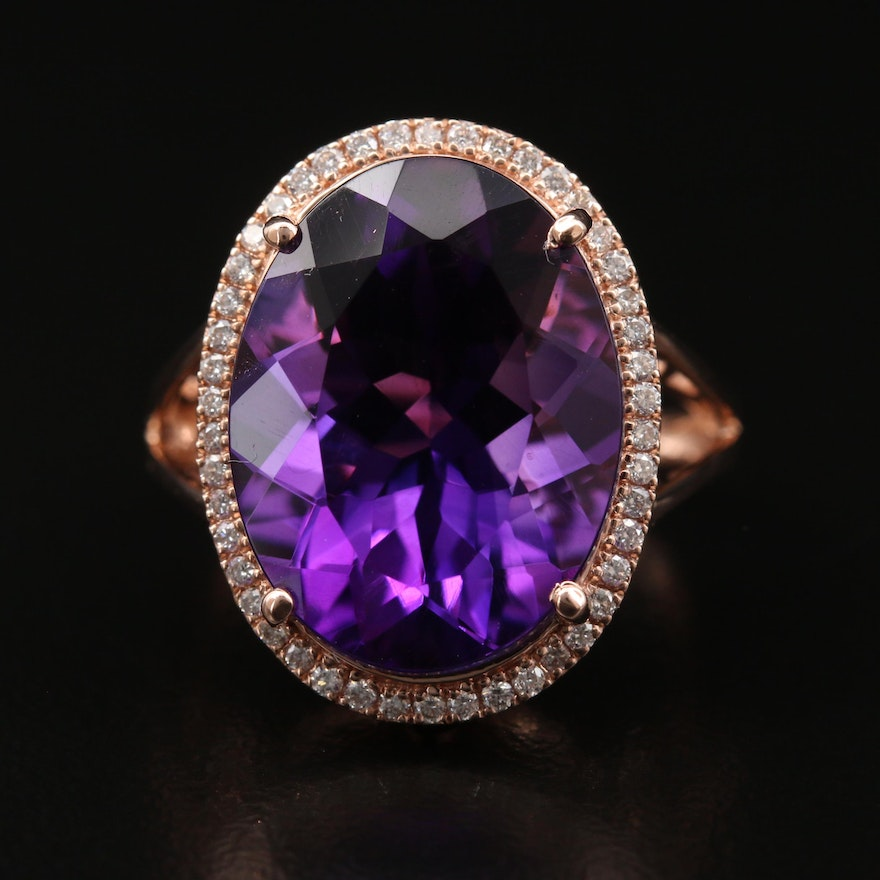 14K Rose Gold 12.12 CT Amethyst Ring with Diamond Halo
