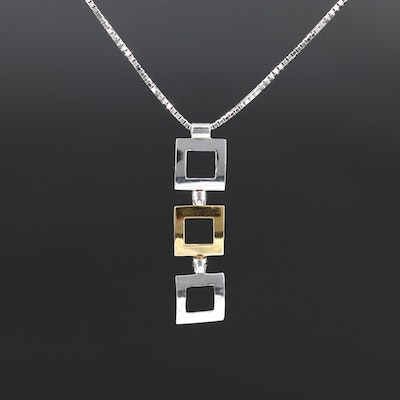 18K Two-Tone Square Pendant Necklace