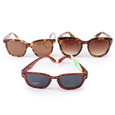 Nine West and Other Faux Tortoise Horn-Rimmed and Modified Cat Eye Sunglasses