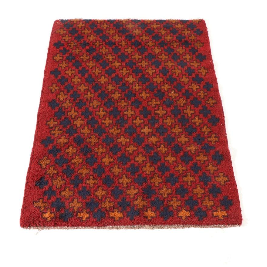 2'11 x 4'5 Hand-Knotted Afghani East Turkestan Geometric Rug, circa 2000