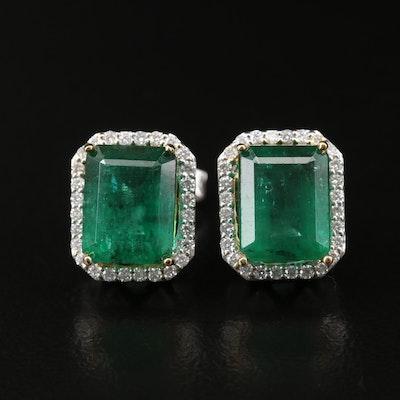 14K 4.98 CTW Emerald Earrings with Diamond Halos