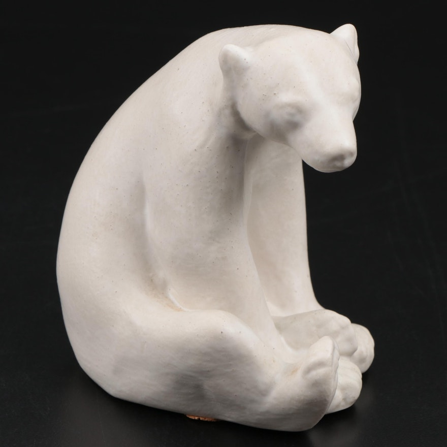 """Rookwood Pottery """"Honey Bear"""" Glazed Ceramic Paperweight After Louise Abel, 1997"""