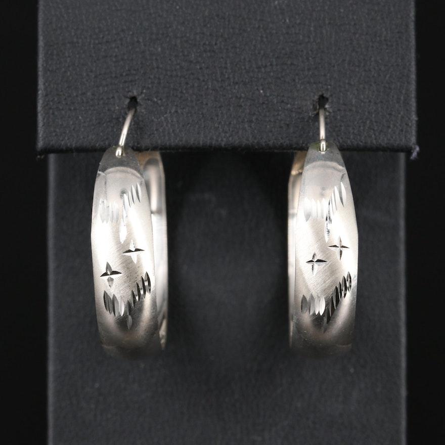 Sterling Diamond Cut Hoop Earrings