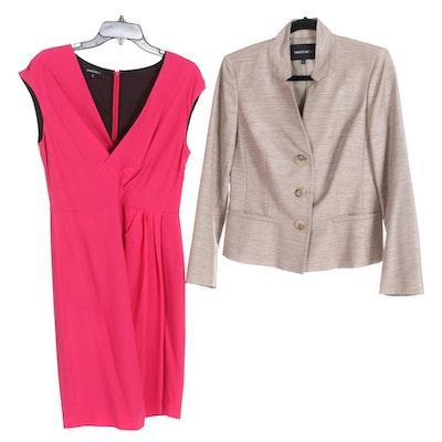 Lafayette 148 New York Light Taupe Blazer with Petunia Pink Dress