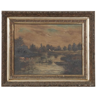 Oil Painting of River Landscape with Livestock, Mid to Late 19th Century