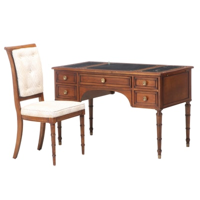 Baker Furniture Wood Desk with Caned Back Side Chair