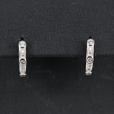 Sterling Cubic Zirconia Huggie Style Hoop Earrings