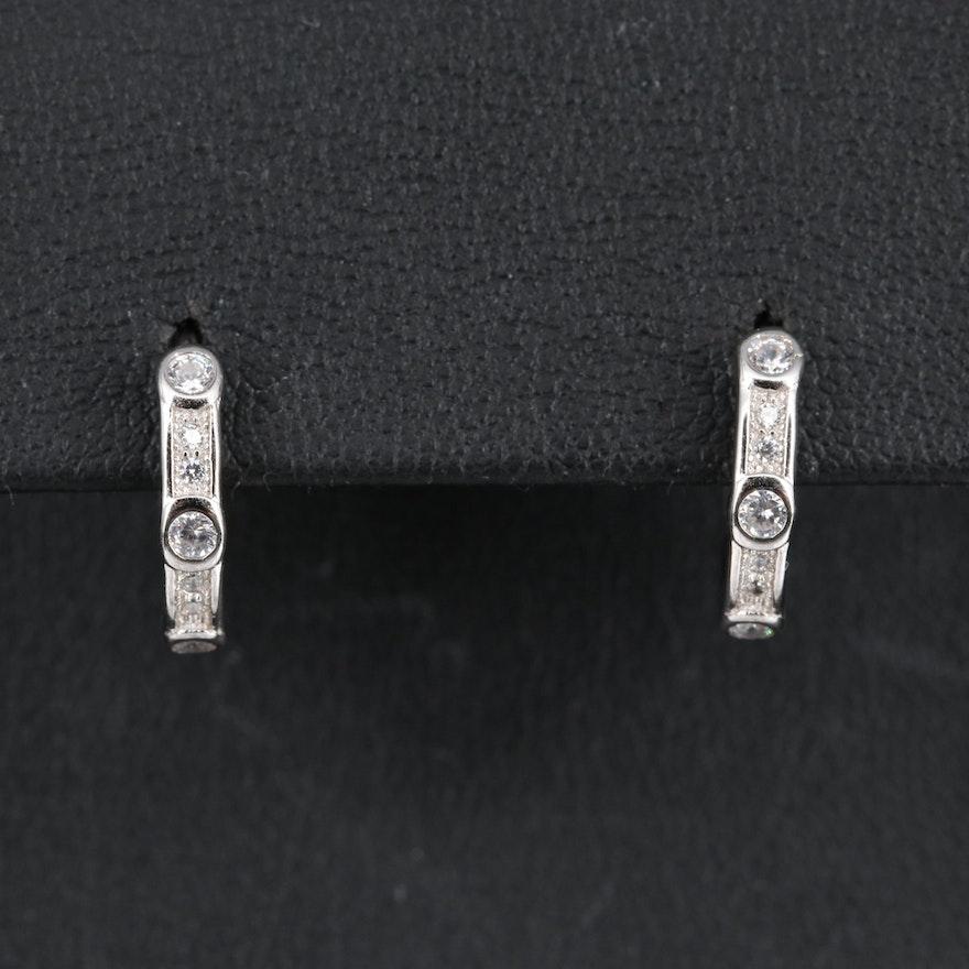 Sterling Cubic Zirconia Huggie Style Hoop Earrings