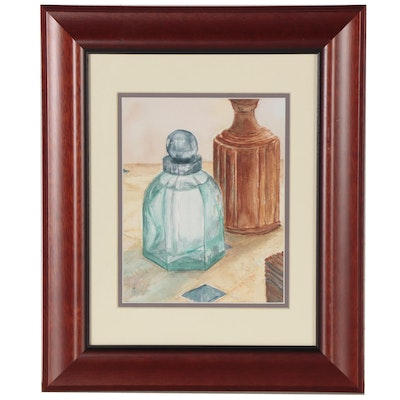 """Judy Whittaker Still Life Watercolor Painting """"Scent,"""" 21st Century"""