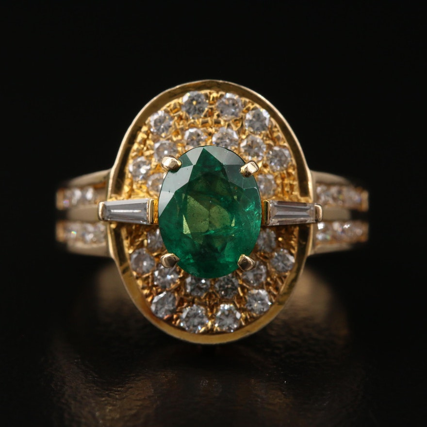 18K 1.01 CT Emerald and Diamond Ring