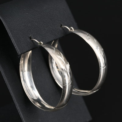 Sterling Diamond Cut Hoop Earings