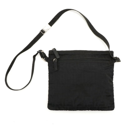 Fendi Zucca Print Black Nylon Crossbody Bag