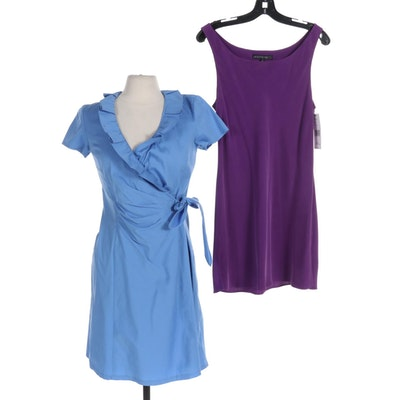 Lafayette 148 New York Violet Silk Slip Dress and Blue Cotton Wrap Dress