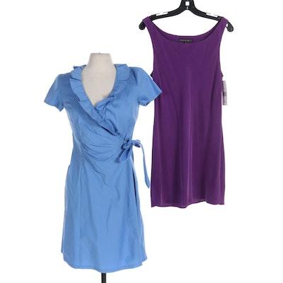Lafayette 148 New York Violet Silk Slip Dress and Blue Cotton Wrap Dress