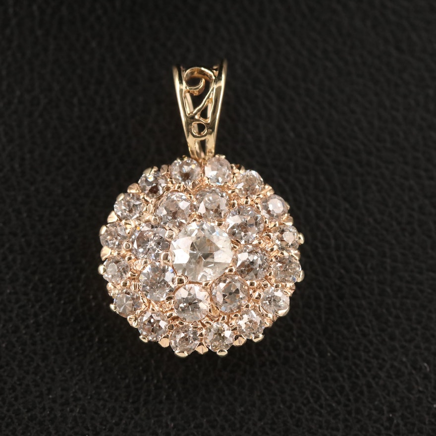 14K Diamond Cluster Pendant with Open Work Accent
