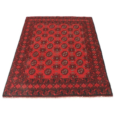 3'11 x 4'11 Hand-Knotted Afghani Turkmen Floral Rug, circa 2000