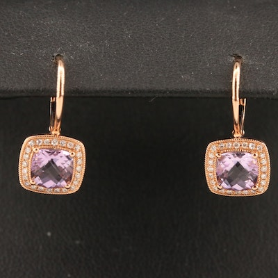 14K Amethyst and Diamond Square Drop Earrings