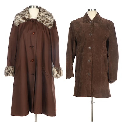 Relativity and Other Suede and Faux Fur Trim Coats