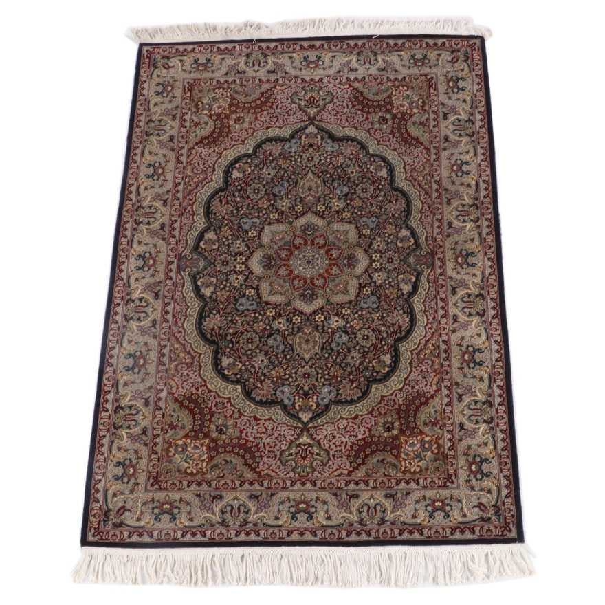3'6 x 6'4 Hand-Knotted Persian Mashhad Wool Rug