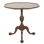 Schaffner's Dependable Furniture Figured Birch Top Tripod Table, Early 20th C.