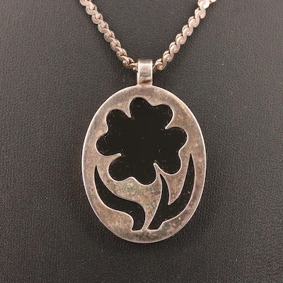 Sterling Black Onyx Oval Flower Pendant Necklace