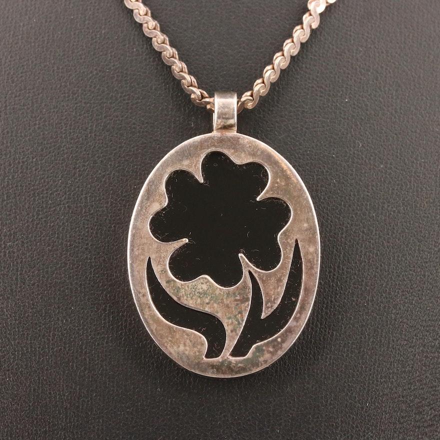Sterling Black Onyx Oval Flower Pendant Necklace