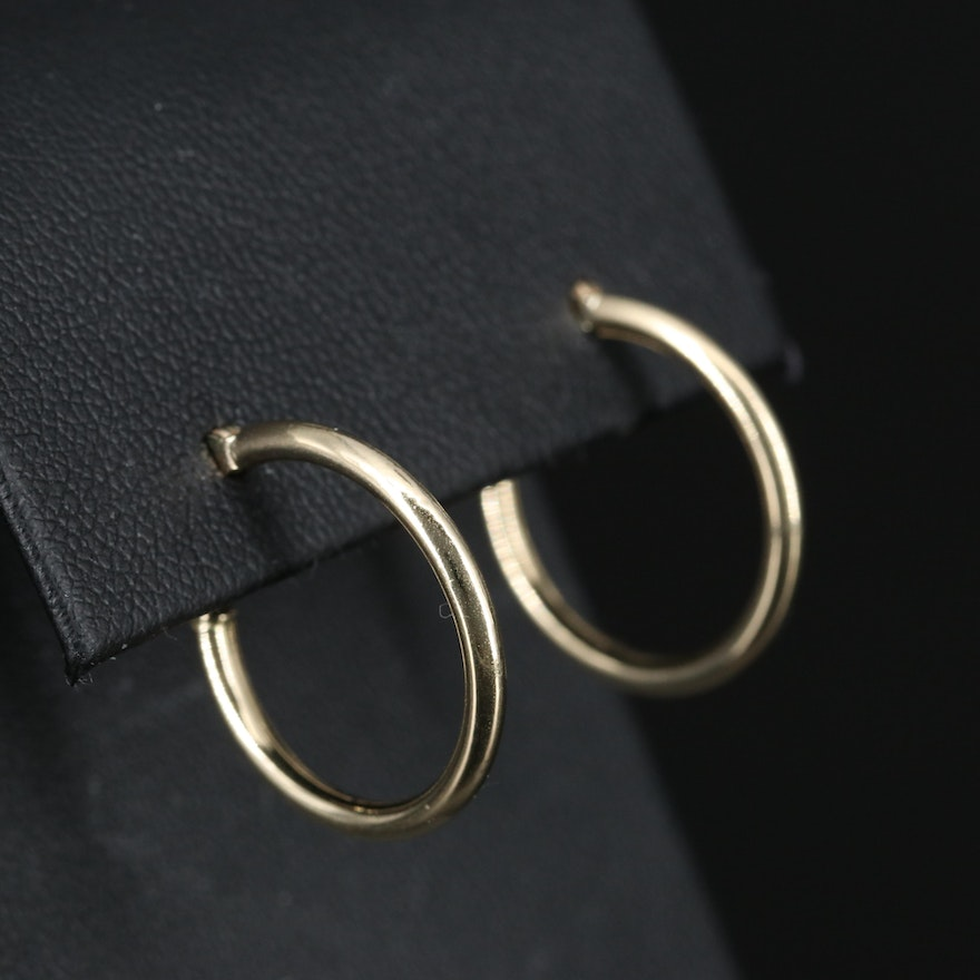 14K Cylinder Hoop Earrings